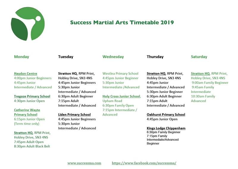 SMA timetable 2019
